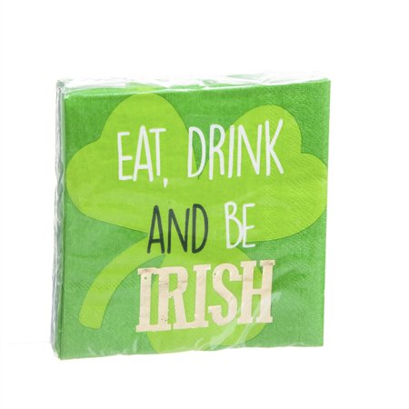 40ct, 3ply, Cocktail Napkin,Foil,Be Irish (Irish Napkins)