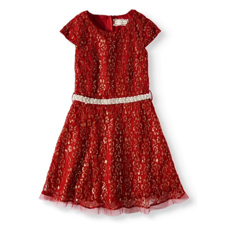 Btween Metallic Lace Cap Sleeve Holiday Dress (Big Girls)