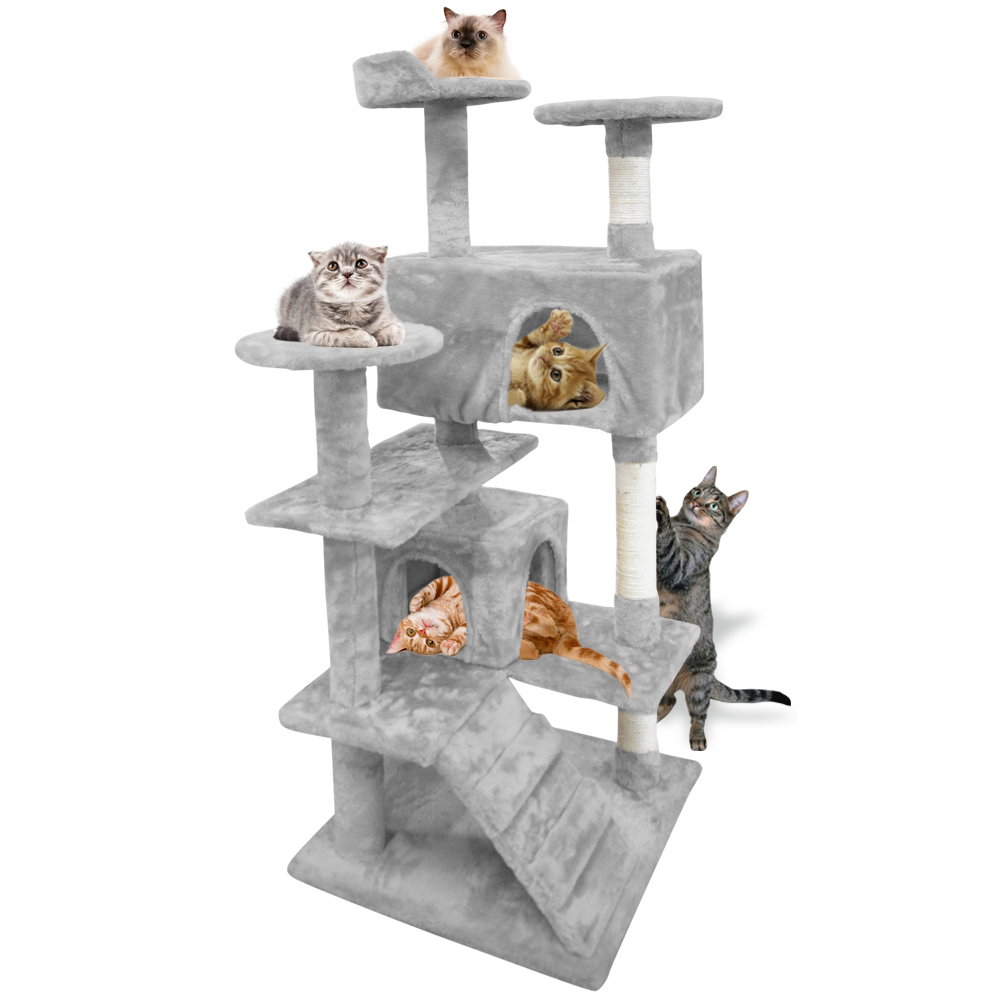 51 Inch Heavy Duty Cat Scratching Post Tree Gym House Condo Furniture Scratcher Grey by
