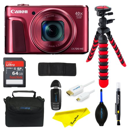 Canon PowerShot SX720 HS Digital Camera (Red) + SD Card + Tripod + Buzz-photo  Advanced Bundle Kit
