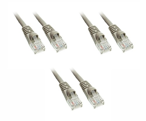 C&E 3 Pack Cat5e Snagless/Molded Boot, Ethernet Patch Cable 14 Feet Grey