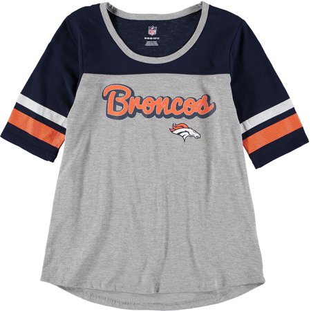 Denver Broncos Girls Youth Fan-Tastic Short Sleeve T-Shirt - Heathered Gray/Navy
