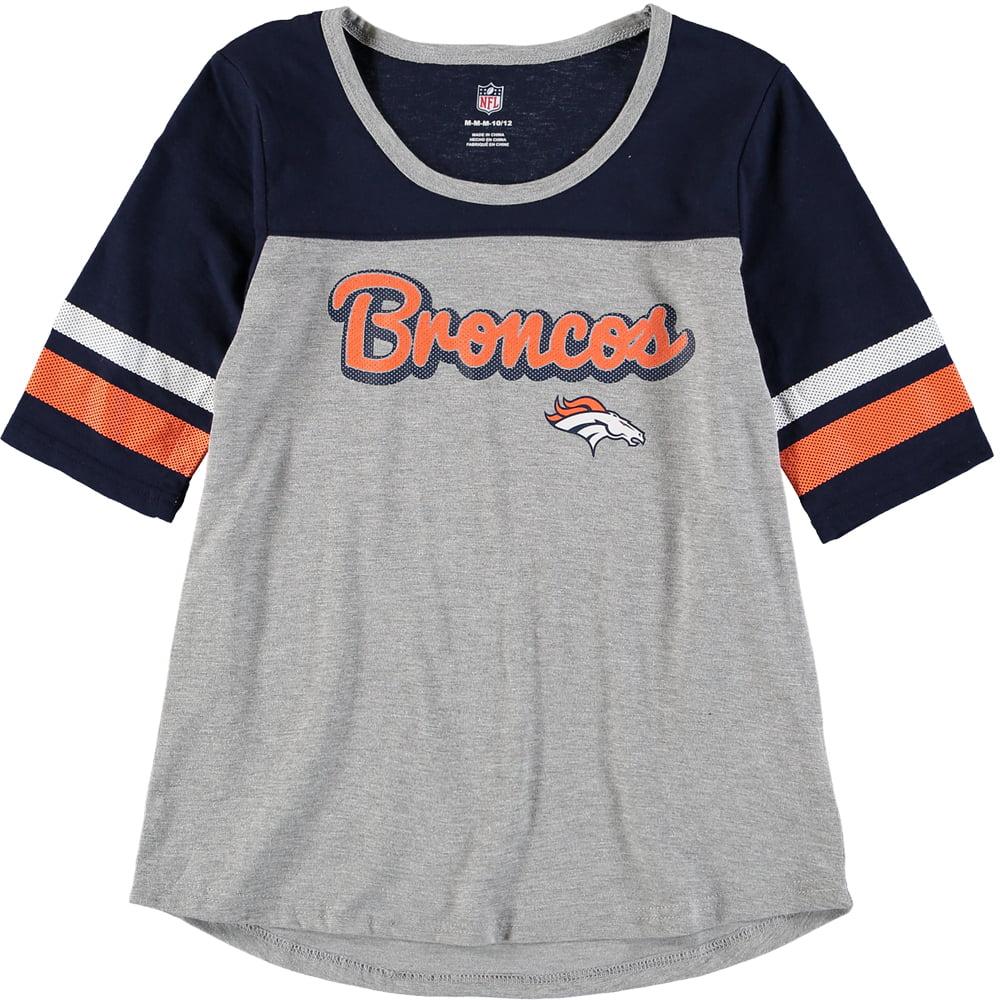 Denver Broncos Girls Youth Fan-Tastic Short Sleeve T-Shirt - Heathered Gray/Navy