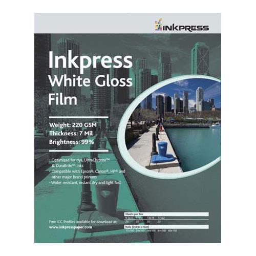"Inkpress White Gloss Inkjet Film, 7 mil., 220gsm, 24""x50' Roll"