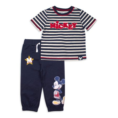 Mickey Mouse Baby Boy Striped Short Sleve T-Shirt & Sweatpant, 2pc Outfit Set ()