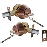 Constructor Deadbolt Entry Door Lock Set with Double Cylinder Antique Copper Finish