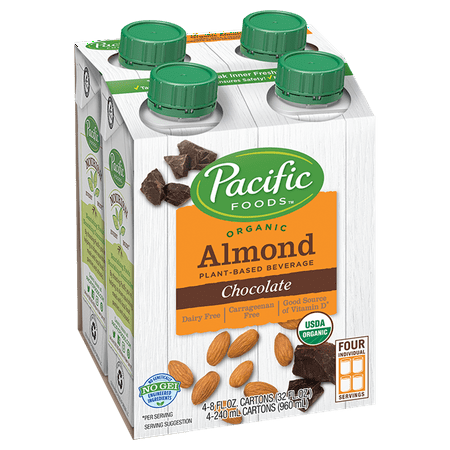 (2 pack) Pacific Foods Organic Almond Non-Dairy Chocolate Beverage, 8 fl (Non Ic Beverage)