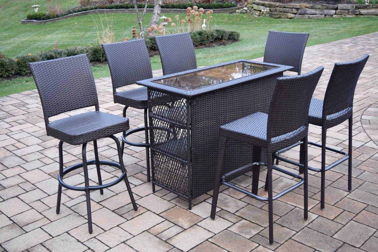 7 Piece Coffee Brown Elite All Weather Resin Wicker Outdoor Patio Bar Set