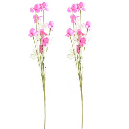 Hot Pink Roses - Wedding Foam Craft Artificial Rose Bouquet Flower Hot Pink 19.5 Inch Height 2pcs