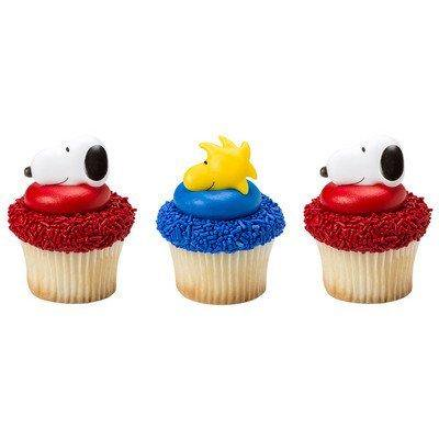 peanuts snoopy and woodstock cupcake rings - 24 count (Snoopy Cupcakes)