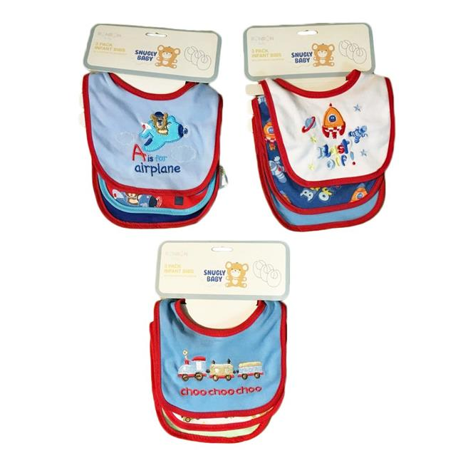 Eros V01-BB03B Baby Bibs - Boy Graphics - 3 Per Pack - Case of 36 - image 1 de 1