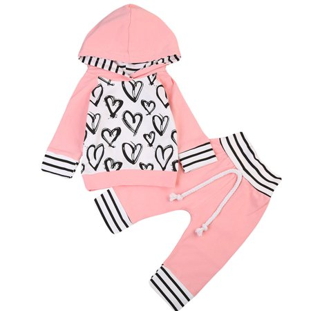 Baby Girls Autumn Outfits Long Sleeve Stripes Love Heart Hoodie With Pant 18-24 Months