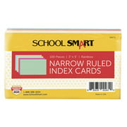 School Smart Ruled Index Cards, 3 x 5 Inches, Assorted Colors, Pack of 100