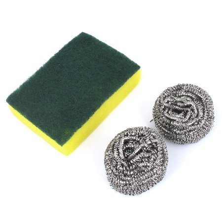 Kitchen Bowl Dish Cup Metal Balls Scrub Sponge Pad Cleaner Cleaning Tool 3 in (Cooktop Scrub Pads)