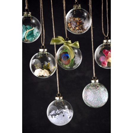 Christmas Ornament Tops.4 Clear Glass Ball 3in Christmas Ornaments Silver Tops 80mm 80mm 3in Es