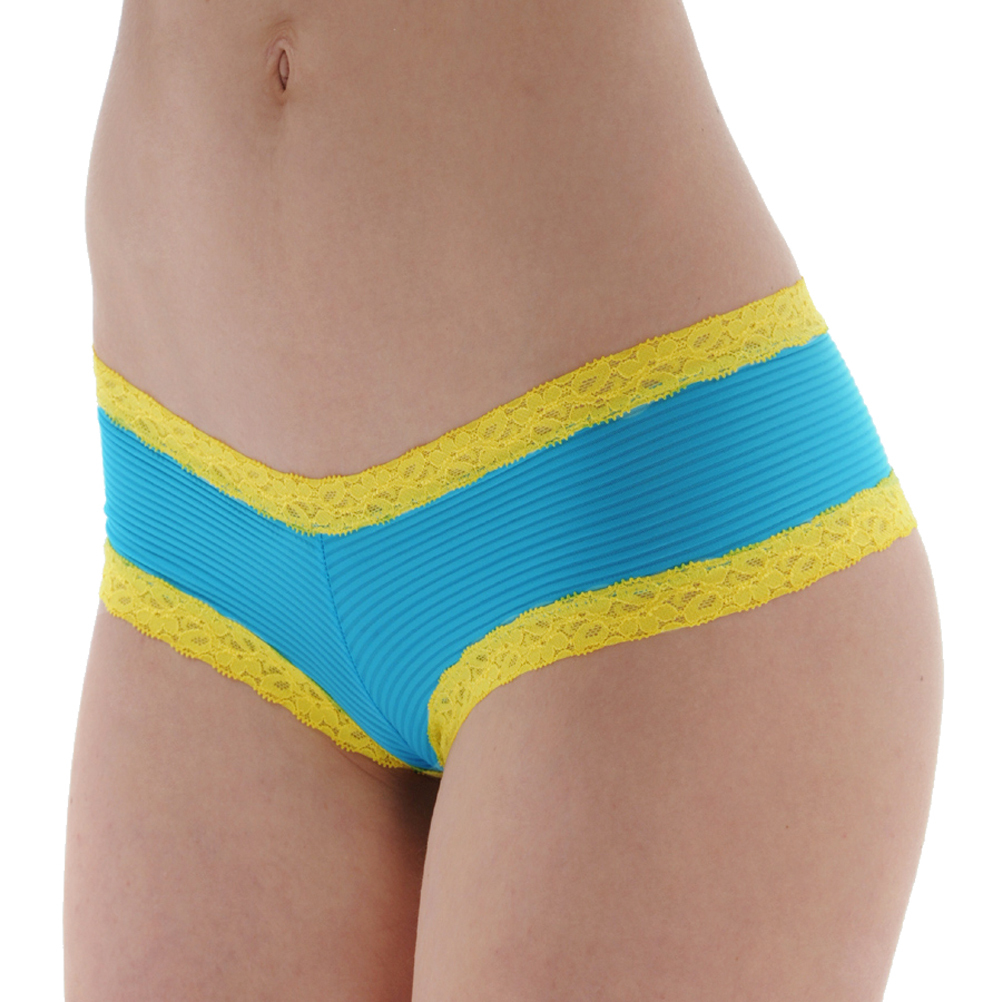 Low Rise Hipster Pantie Blue with Yellow Lace Trim 10 12