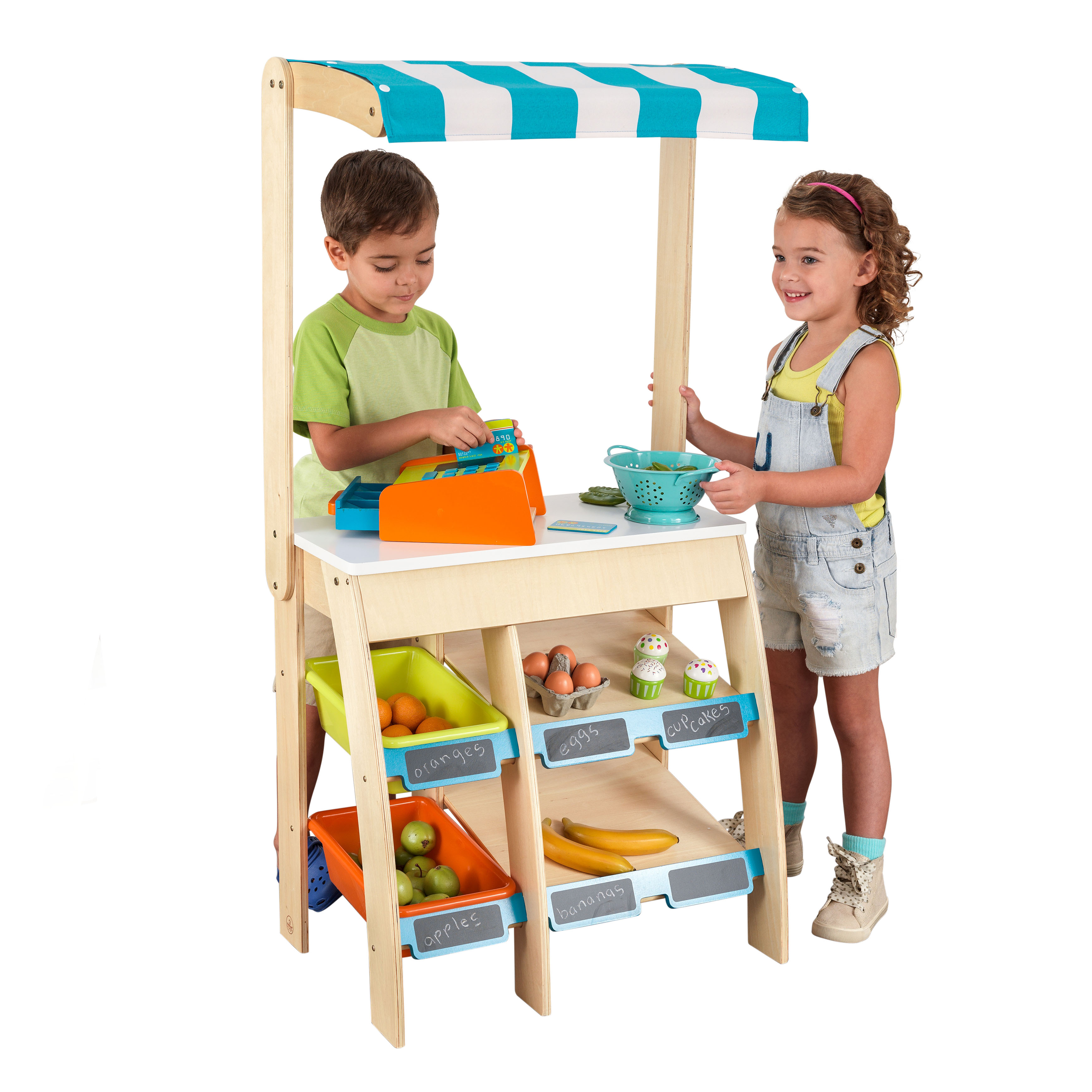 KidKraft Colorful Wooden Grocery Store Marketplace Toy - Multi Colored, Extra Storage, Chalkboard, For Multiple Children