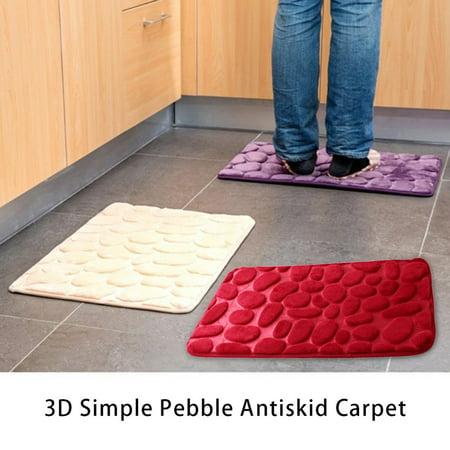 3D Simple Design Solid Water Absorption Rug Bathroom Mat Shaggy Memory Foam Bath Mat Kitchen Door Floor Mat - image 3 de 6