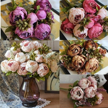 Best Artificial Silk Peony Flowers Home Wedding Party Bridal Hydrangea Bouquet (Fall Bridal Bouquet)