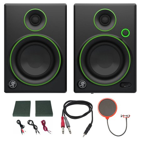 - Mackie CR4 Creative Reference Multimedia Monitor (Pair) w/ Pro DJ Bundle Includes, 3-feet 1/8