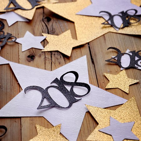 New Years Eve Decorations. Glitter Gold and Woodgrain Jumbo Star Confetti with 2018. NYE Confetti Mix for Table.](Nye Party)