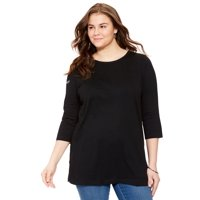 22df40b3c2c Product Image Woman Within Plus Size Scoop Neck Three-quarter Sleeve  Perfect Tunic