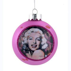 80 MM Pink Glass Ball Marilyn Monroe Ornament
