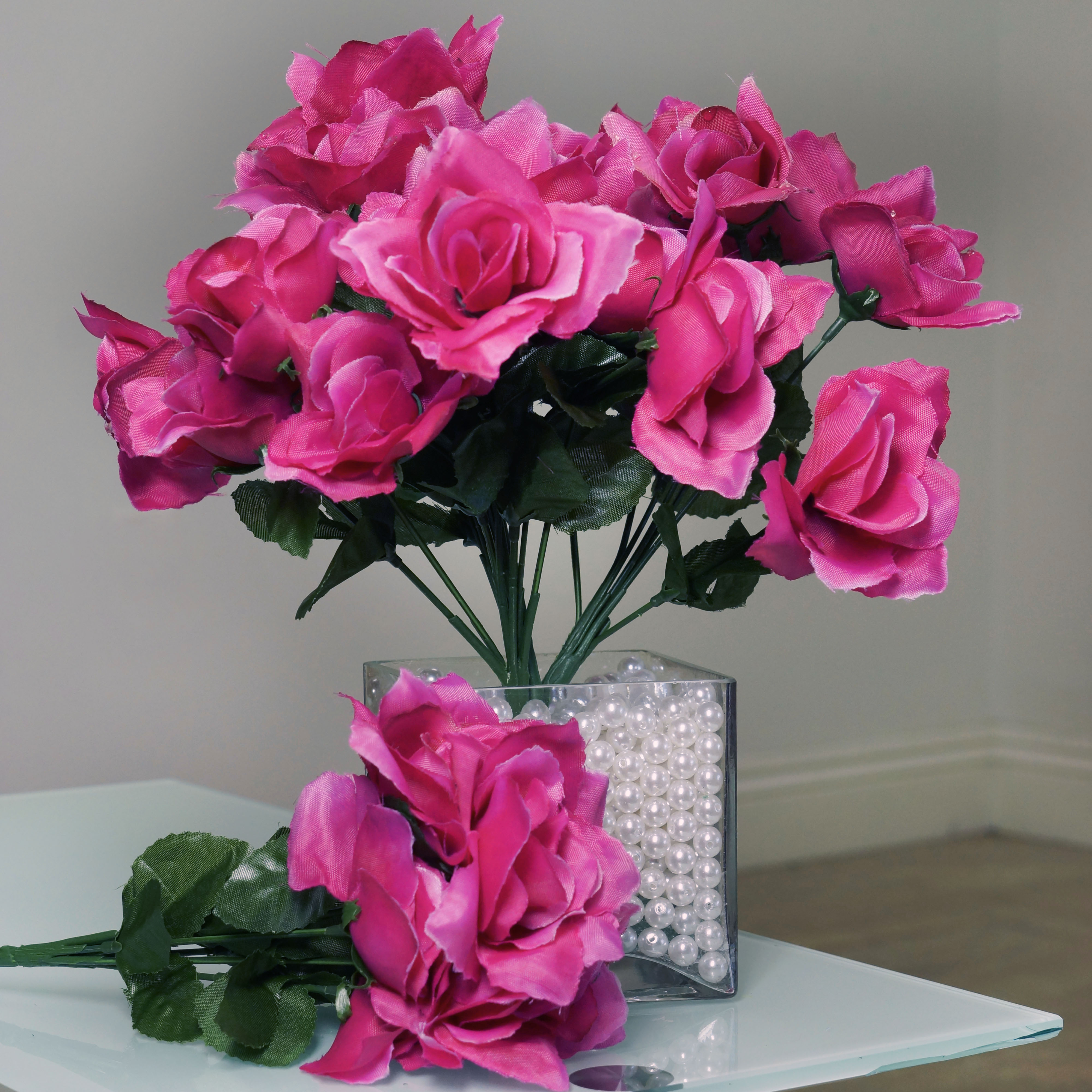 BalsaCircle 84 Silk Open Roses Bouquets - DIY Home Wedding Party Artificial Flowers Arrangements Centerpieces