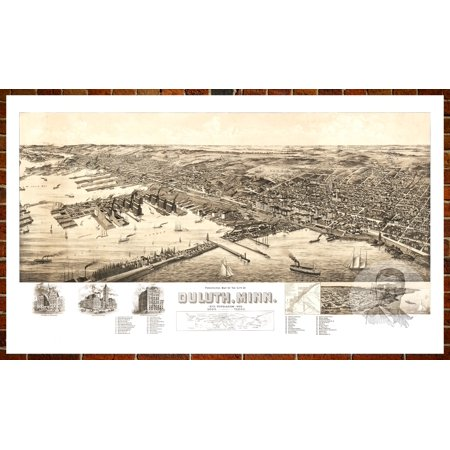 Ted's Vintage Art Map of Duluth, MN 1893; Old Minnesota Decor 8