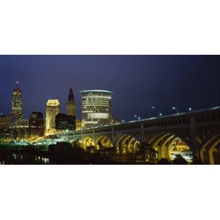 Bridge in a city lit up at night Detroit Avenue Bridge Cleveland Ohio USA Poster Print](Party City In Ohio)