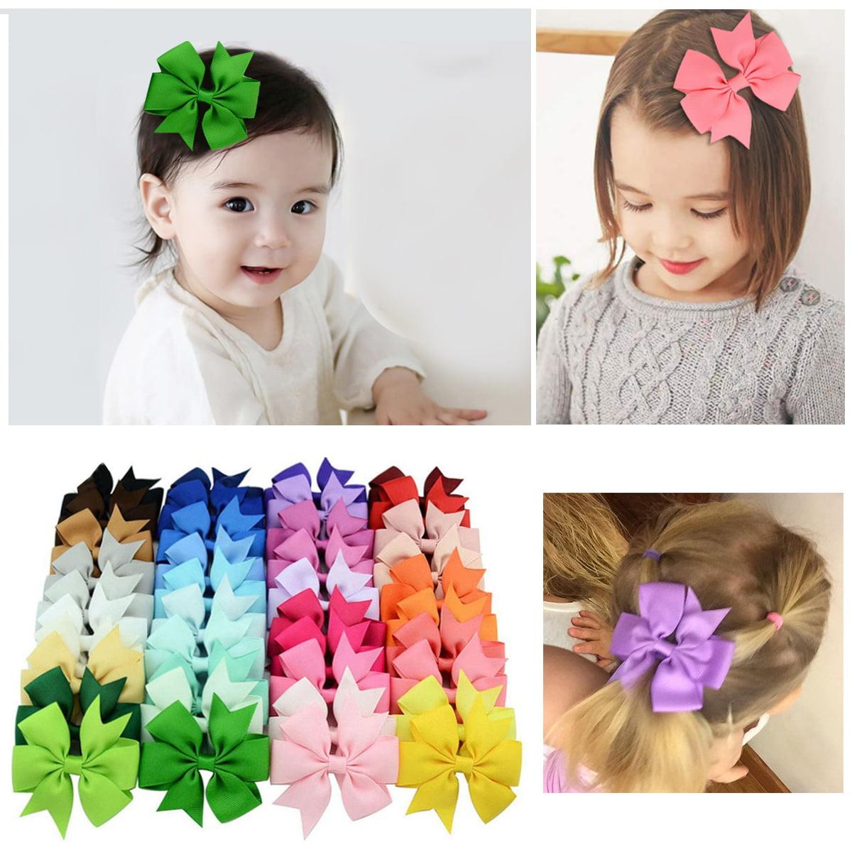 20 Pcs Baby Girls Kids Hair Bow Hairpin Alligator Bowknot Ribbon Clips Grosgrain