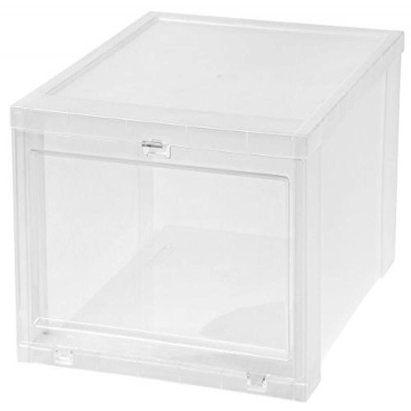 IRIS Large Drop Front Shoe Box, 6 Pack, Clear