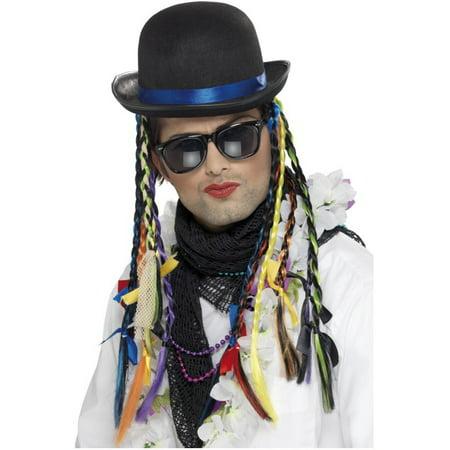 Black Derby Bowler Costume Coke Hat With Multi-Colored Braids Costume Accessory