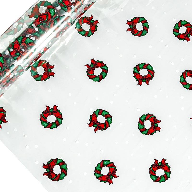 "Holiday Wreath Printed Cellophane 30"" X 100' by Paper Mart"