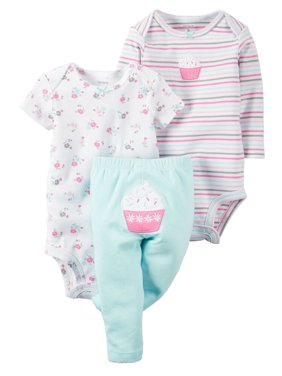Carters Baby Clothing Outfit Girls 3-Piece Little Character Set Floral Cupcake, Turquoise