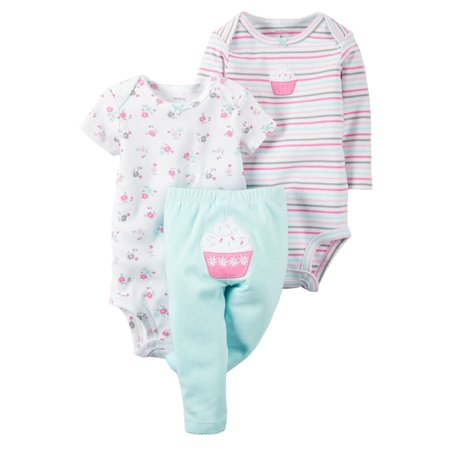 Carters Baby Clothing Outfit Girls 3-Piece Little Character Set Floral Cupcake, (Character Girl)