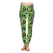Two Left Feet Lovely St. Patrick's Day Lucky Leprechaun Shamrock Green Irish Leggings (Large/X-Large, Shamrock Shake)