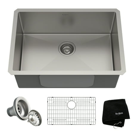 KRAUS Standart PRO™ 26-inch 16 Gauge Undermount Single Bowl Stainless Steel Kitchen Sink ()