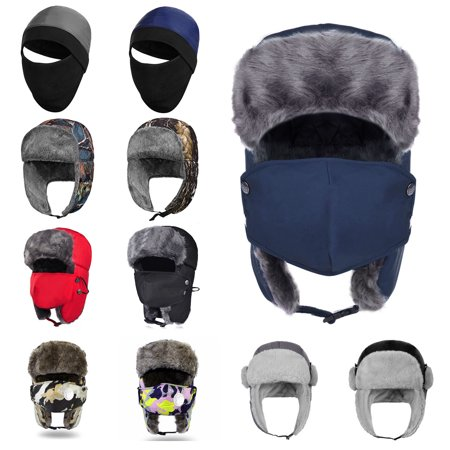 Winter Hat-Fitbest Winter Hunting Hat Trooper Trapper Hat-Vbiger Eskimo Hat Ear Flap Cap with Detachable Windproof Mask
