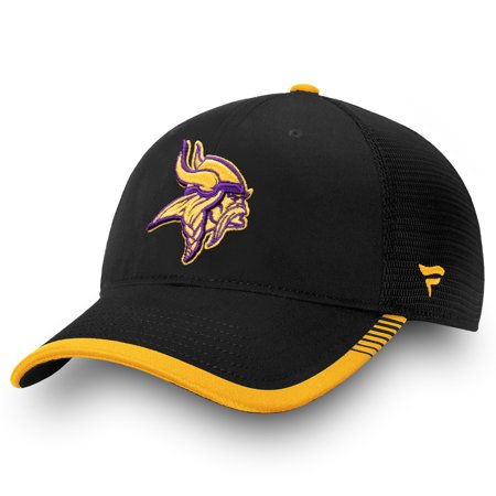 Minnesota Vikings NFL Pro Line by Fanatics Branded Iconic Team Pop Trucker Adjustable Snapback Hat - Black - OSFA Team Nfl Football Hat