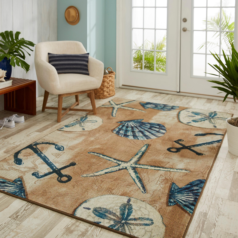 Sand Starfish Shell Child Room Area Rugs Living Room Carpets Bedroom Floor Mat