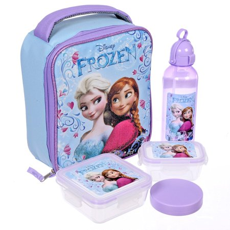 d7fee9c4bcd Disney Girls  Princess Frozen Anna and Elsa 5 Piece Insulated Lunch Kit Set  10 Inch - Walmart.com