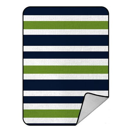 - GCKG Navy Blue,Green And White Stripe Fleece Blanket Crystal Velvet Front and Lambswool Sherpa Fleece Back Throw Blanket 58x80inches