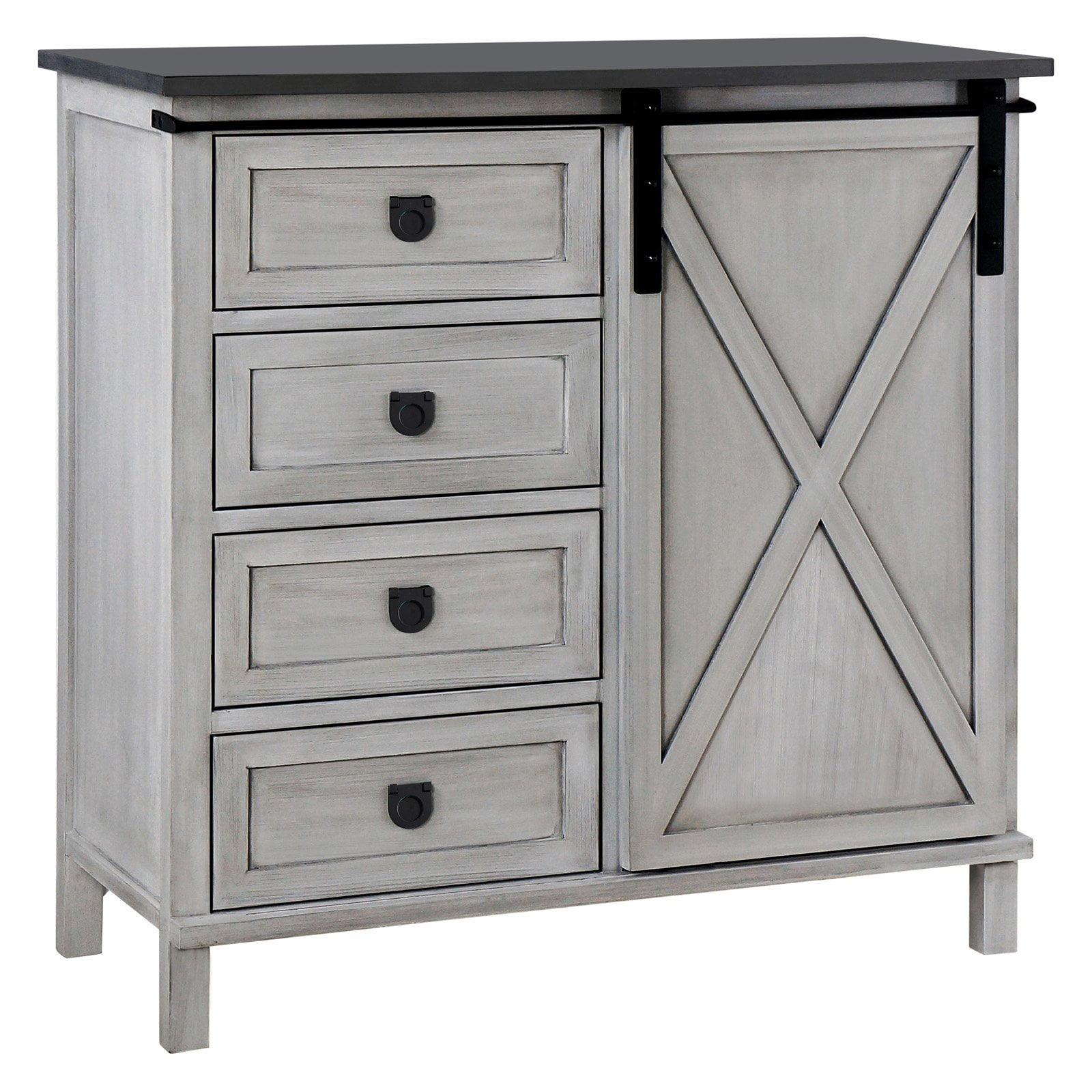 Gallerie Decor Framingham Farmhouse 4 Drawer Cabinet