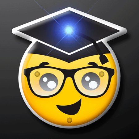 Graduation Face Emoji Light Up LED Party Pin by Blinkee - Pin Up Lights