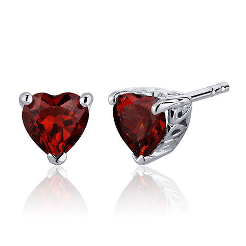 Oravo 2.00 Carats Garnet Heart Shape Stud Earrings in Sterling Silver