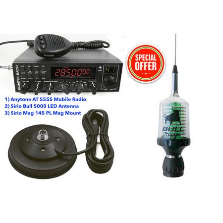 Combo: Anytone AT 5555 Mobile Radio + Sirio Bull 5000 LED Antenna + Mag 145 Mag (Radio Mag)