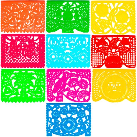 (Large Plastic Papel Picado Banner - 15 Feet Long - Two Designs to choose from (1 Pack, All Occasions))