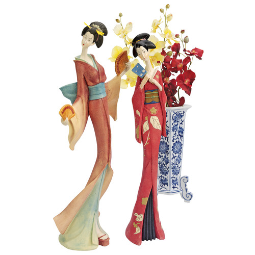 Design Toscano 2 Piece Japanese Maiko Geisha Fan Dancer Statue Set