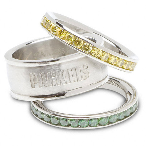 NFL - Green Bay Packers Team Logo Crystal Stacked Ring Set